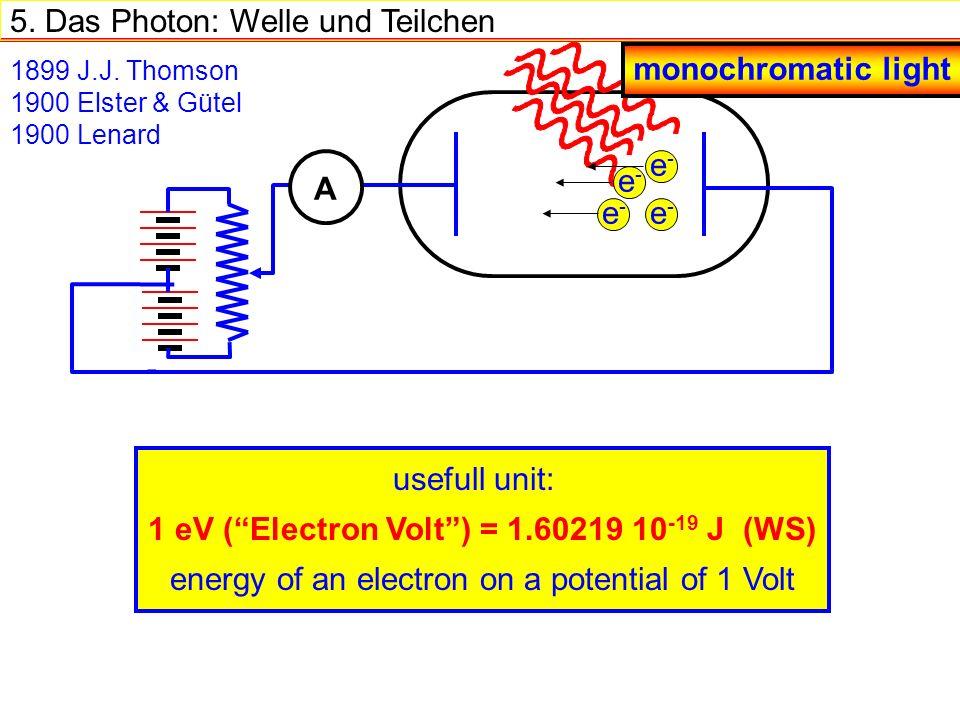 5.Das Photon: Welle und Teilchen 1899 J.J.