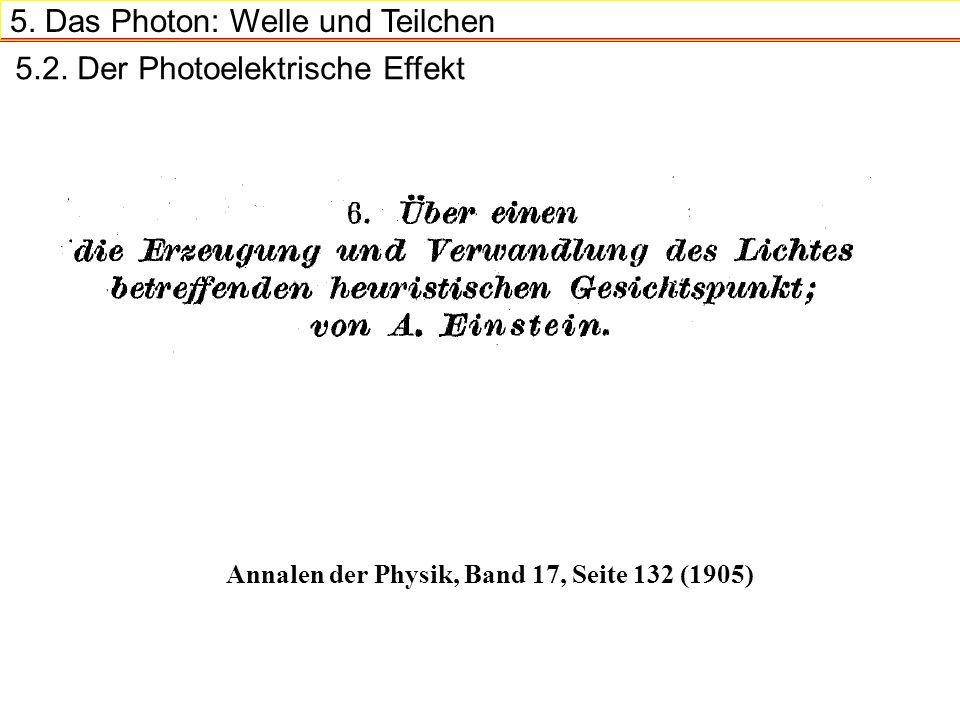 5.Das Photon: Welle und Teilchen 5.2.