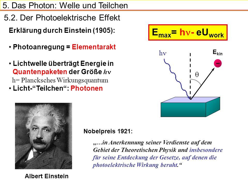 5. Das Photon: Welle und Teilchen Erklärung durch Einstein (1905): Photoanregung = Elementarakt Lichtwelle überträgt Energie in Quantenpaketen der Grö