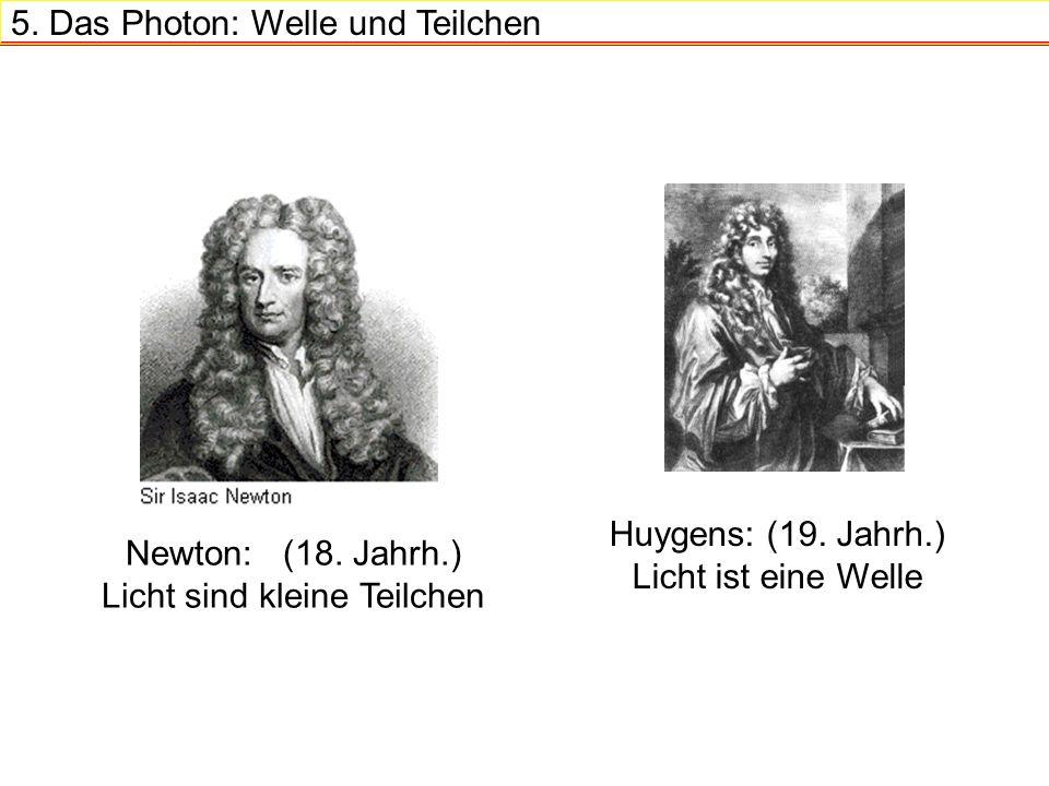 5.Das Photon: Welle und Teilchen Huygens: (19. Jahrh.) Licht ist eine Welle Newton: (18.