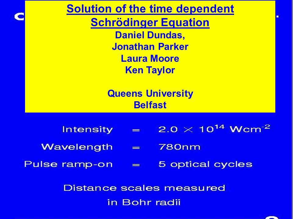 2.0*10 14 W/cm 2 800nm Atomic Units Solution of the time dependent Schrödinger Equation Daniel Dundas, Jonathan Parker Laura Moore Ken Taylor Queens University Belfast