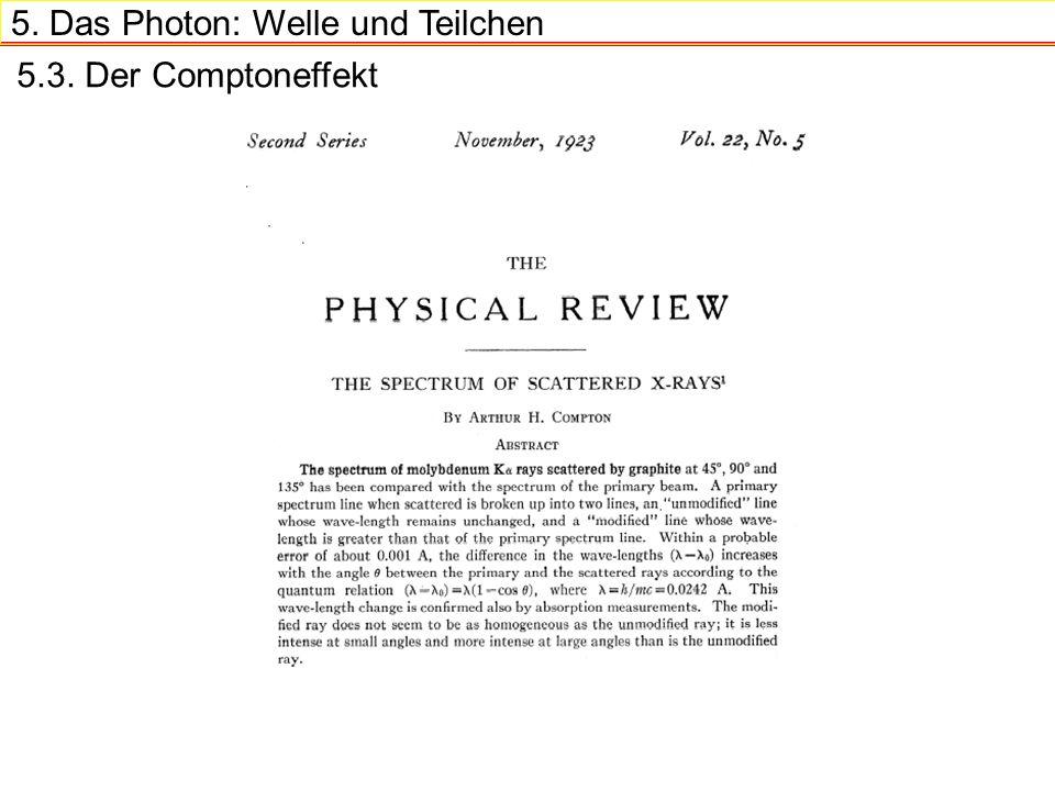 5. Das Photon: Welle und Teilchen 5.3. Der Comptoneffekt