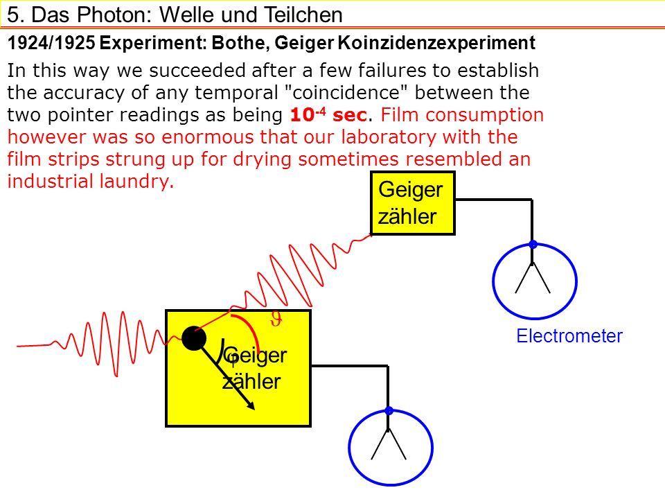 5. Das Photon: Welle und Teilchen Geiger zähler 1924/1925 Experiment: Bothe, Geiger Koinzidenzexperiment Geiger zähler Electrometer In this way we suc