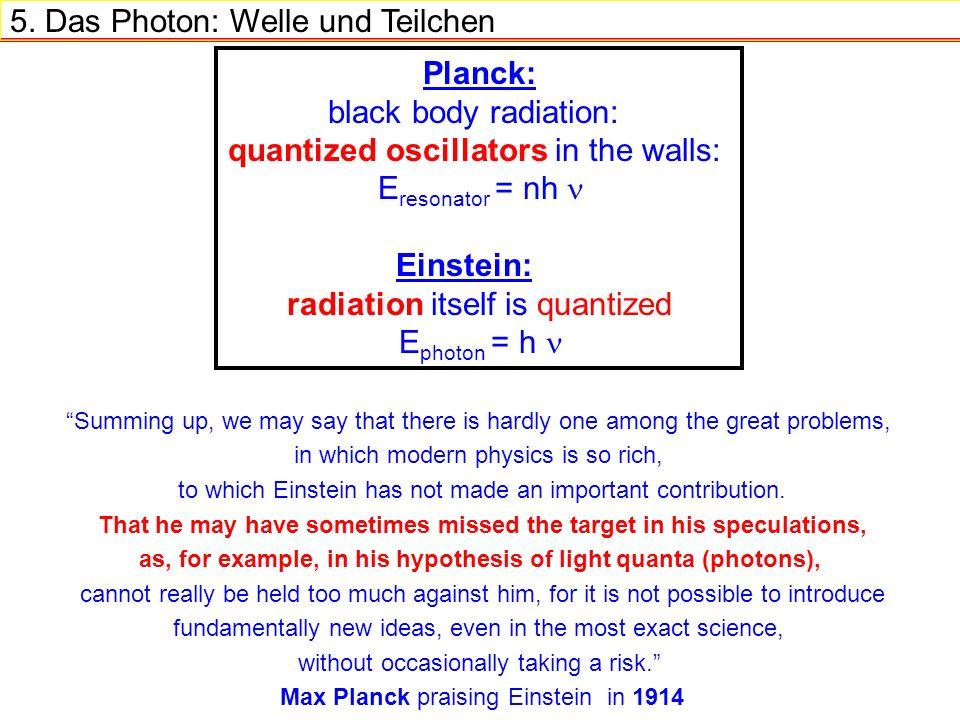 5. Das Photon: Welle und Teilchen Planck: black body radiation: quantized oscillators in the walls: E resonator = nh Einstein: radiation itself is qua