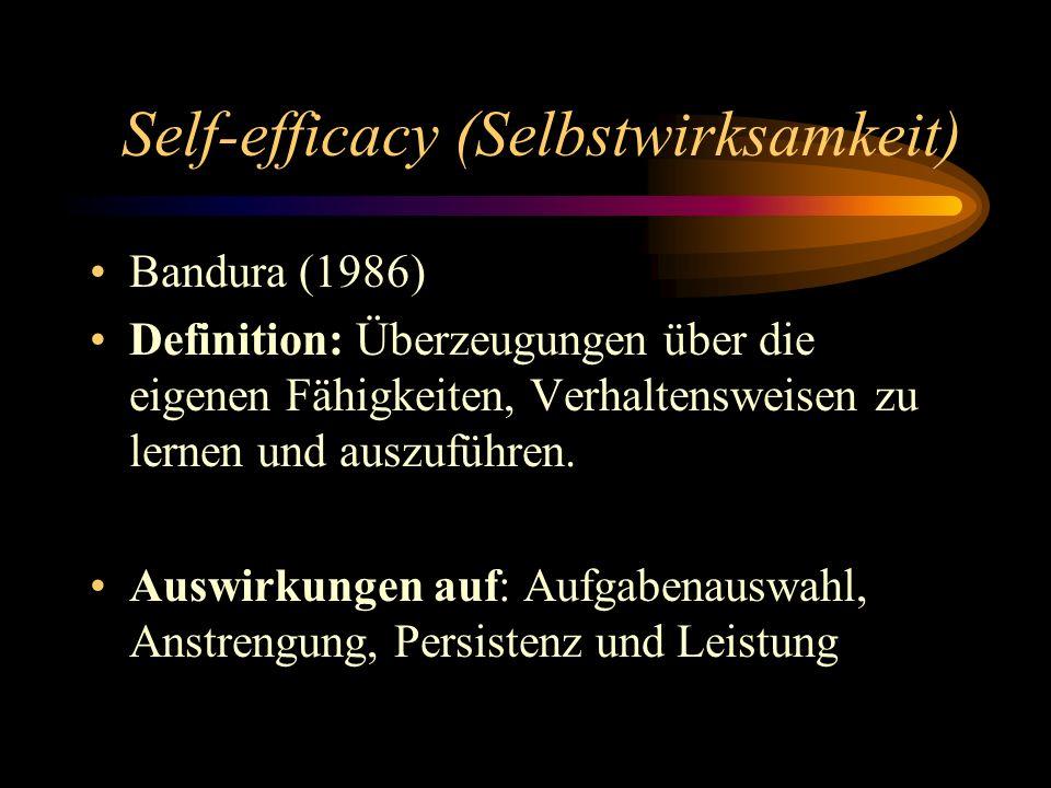 Self-efficacy (Selbstwirksamkeit) Bandura (1986) Definition: Überzeugungen über die eigenen Fähigkeiten, Verhaltensweisen zu lernen und auszuführen. A