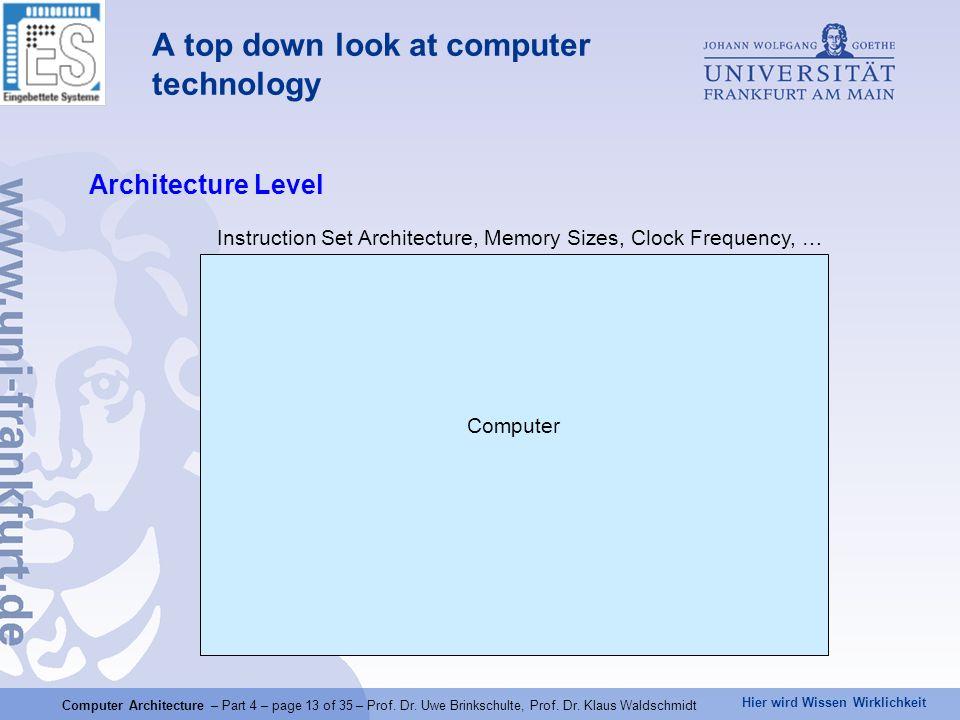Hier wird Wissen Wirklichkeit Computer Architecture – Part 4 – page 13 of 35 – Prof.