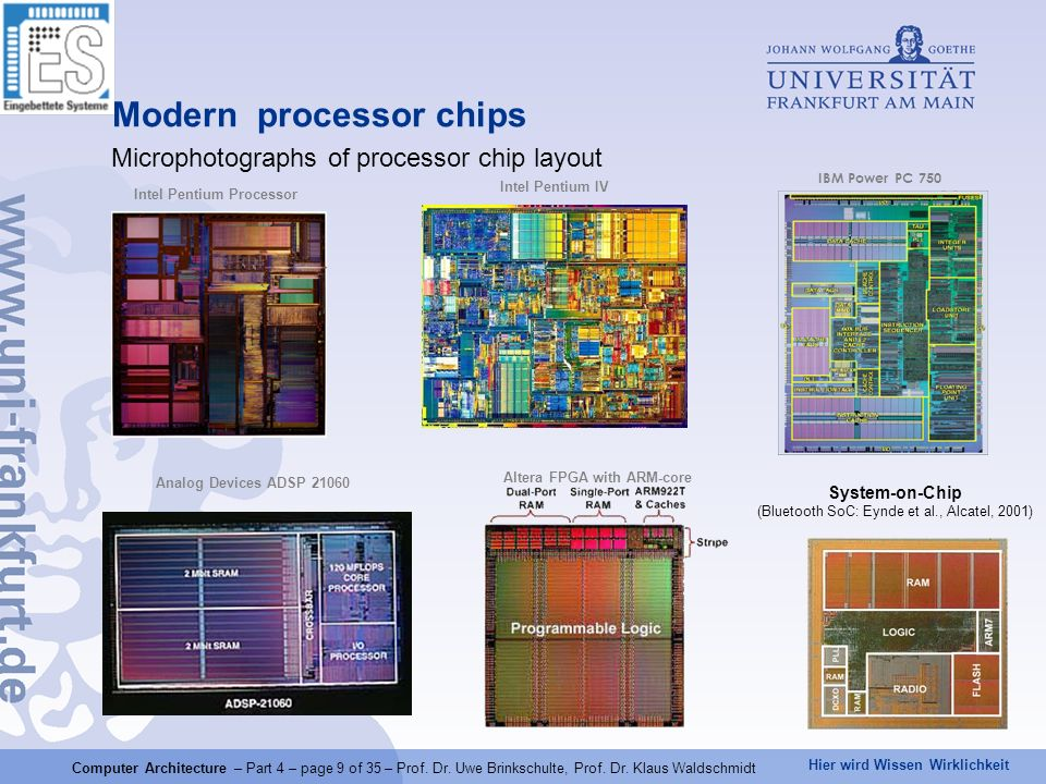 Hier wird Wissen Wirklichkeit Computer Architecture – Part 4 – page 9 of 35 – Prof.