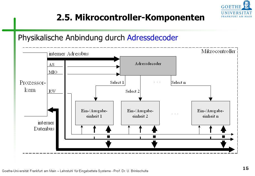 Goethe-Universität Frankfurt am Main – Lehrstuhl für Eingebettete Systeme - Prof. Dr. U. Brinkschulte 15 2.5. Mikrocontroller-Komponenten Physikalisch