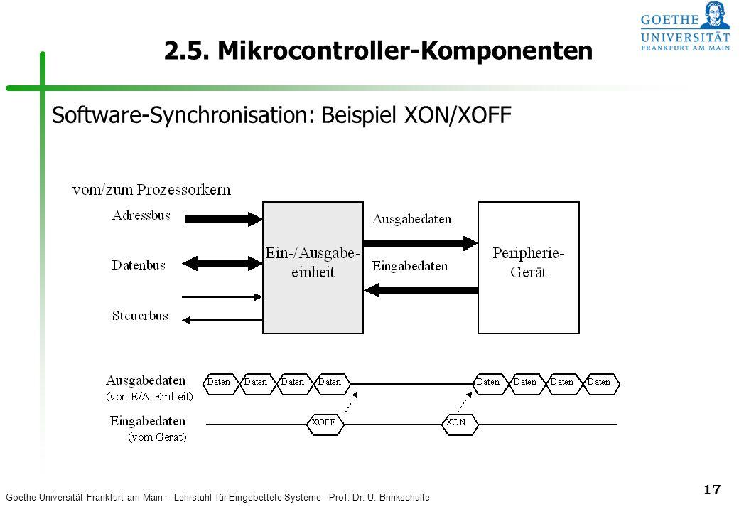 Goethe-Universität Frankfurt am Main – Lehrstuhl für Eingebettete Systeme - Prof. Dr. U. Brinkschulte 17 2.5. Mikrocontroller-Komponenten Software-Syn