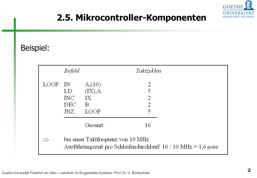 Goethe-Universität Frankfurt am Main – Lehrstuhl für Eingebettete Systeme - Prof. Dr. U. Brinkschulte 2 2.5. Mikrocontroller-Komponenten Beispiel: