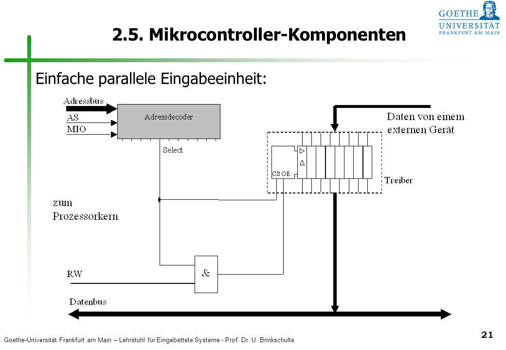 Goethe-Universität Frankfurt am Main – Lehrstuhl für Eingebettete Systeme - Prof. Dr. U. Brinkschulte 21 2.5. Mikrocontroller-Komponenten Einfache par