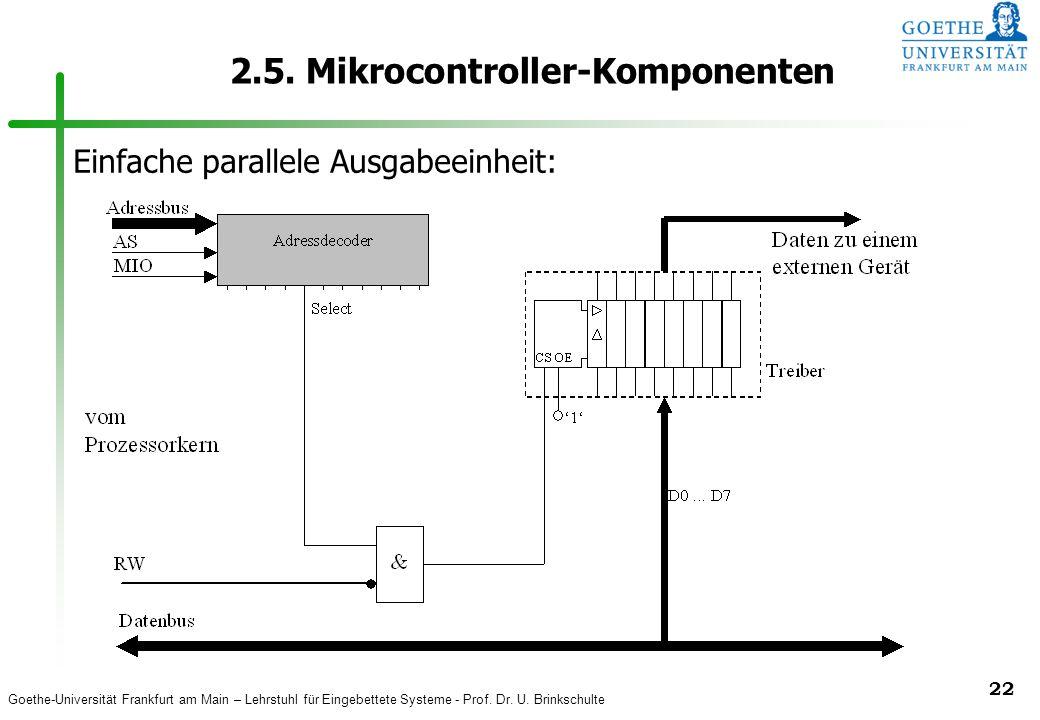 Goethe-Universität Frankfurt am Main – Lehrstuhl für Eingebettete Systeme - Prof. Dr. U. Brinkschulte 22 2.5. Mikrocontroller-Komponenten Einfache par