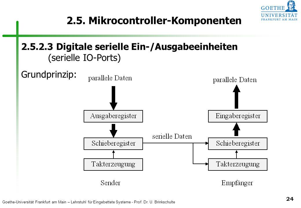 Goethe-Universität Frankfurt am Main – Lehrstuhl für Eingebettete Systeme - Prof. Dr. U. Brinkschulte 24 2.5. Mikrocontroller-Komponenten 2.5.2.3 Digi