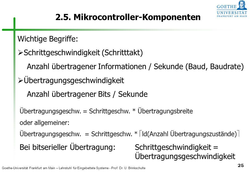 Goethe-Universität Frankfurt am Main – Lehrstuhl für Eingebettete Systeme - Prof. Dr. U. Brinkschulte 25 2.5. Mikrocontroller-Komponenten Wichtige Beg