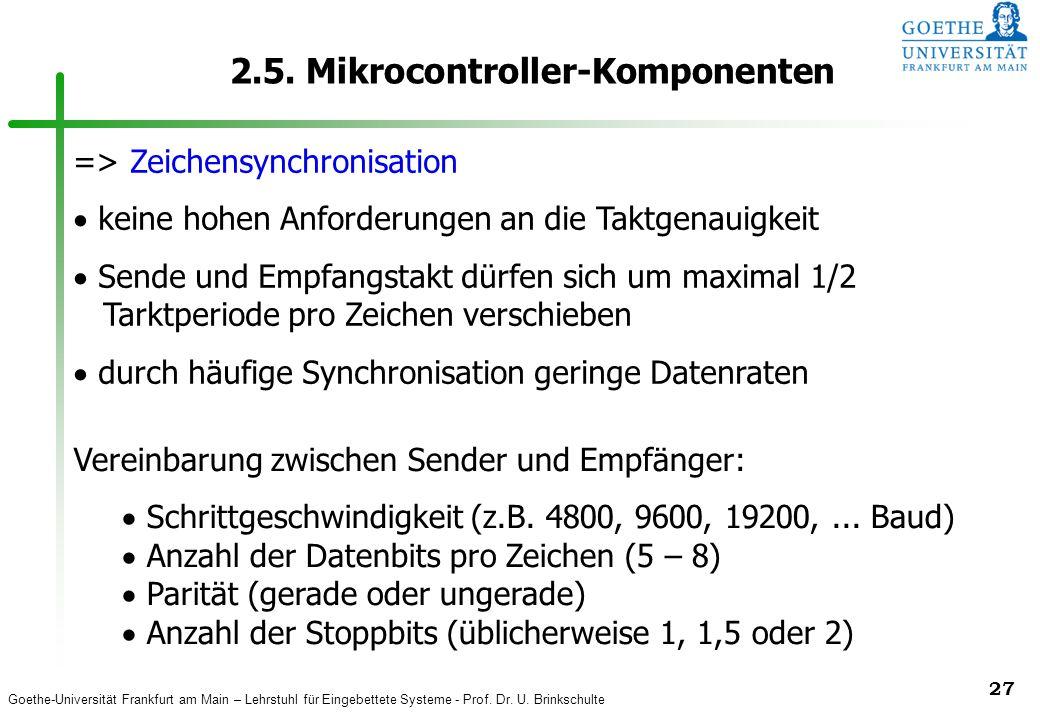 Goethe-Universität Frankfurt am Main – Lehrstuhl für Eingebettete Systeme - Prof. Dr. U. Brinkschulte 27 2.5. Mikrocontroller-Komponenten => Zeichensy