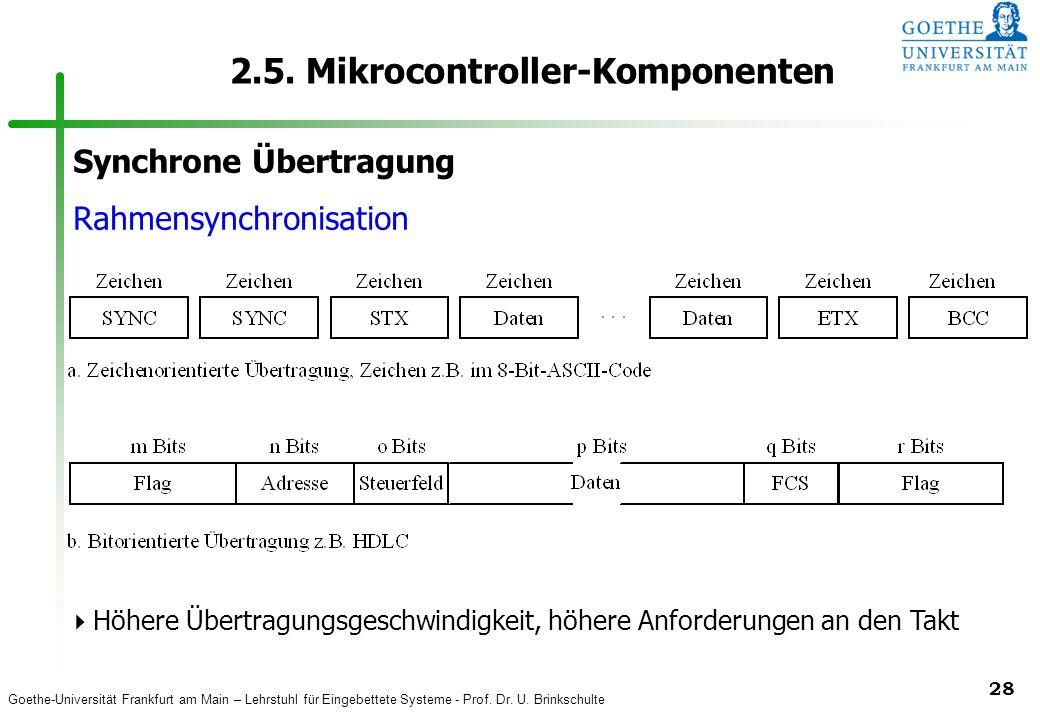 Goethe-Universität Frankfurt am Main – Lehrstuhl für Eingebettete Systeme - Prof. Dr. U. Brinkschulte 28 2.5. Mikrocontroller-Komponenten Synchrone Üb