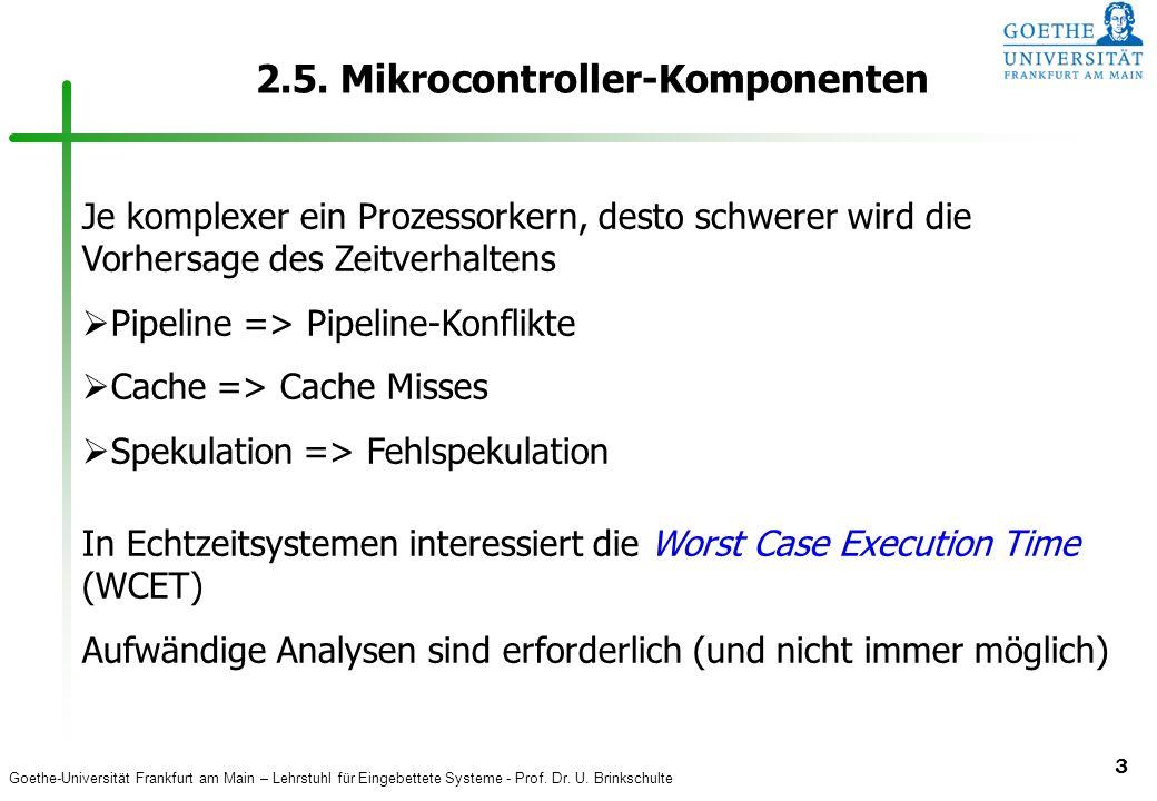 Goethe-Universität Frankfurt am Main – Lehrstuhl für Eingebettete Systeme - Prof. Dr. U. Brinkschulte 3 2.5. Mikrocontroller-Komponenten Je komplexer