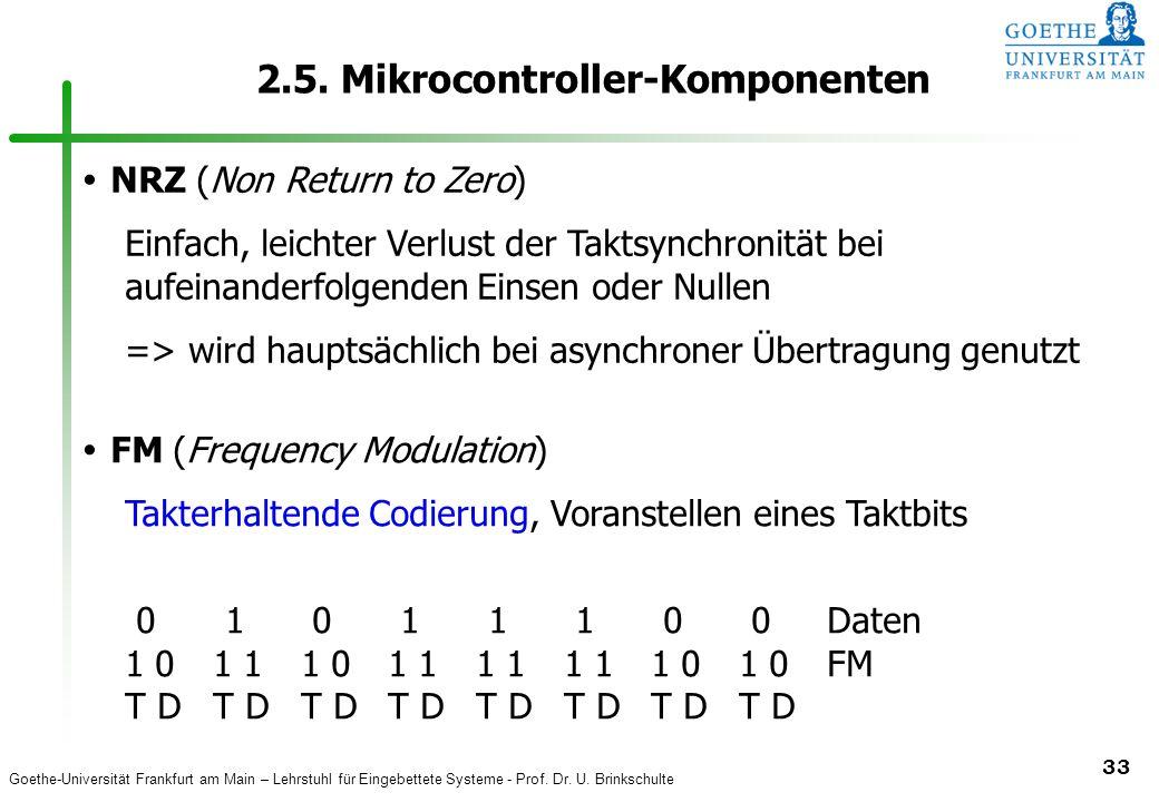 Goethe-Universität Frankfurt am Main – Lehrstuhl für Eingebettete Systeme - Prof. Dr. U. Brinkschulte 33 2.5. Mikrocontroller-Komponenten NRZ (Non Ret