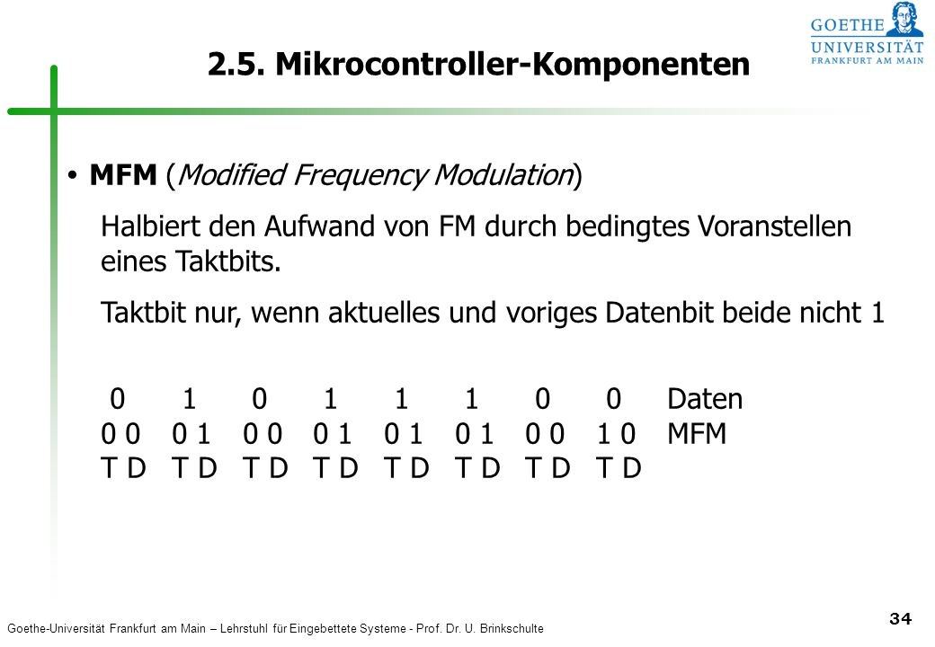 Goethe-Universität Frankfurt am Main – Lehrstuhl für Eingebettete Systeme - Prof. Dr. U. Brinkschulte 34 2.5. Mikrocontroller-Komponenten MFM (Modifie