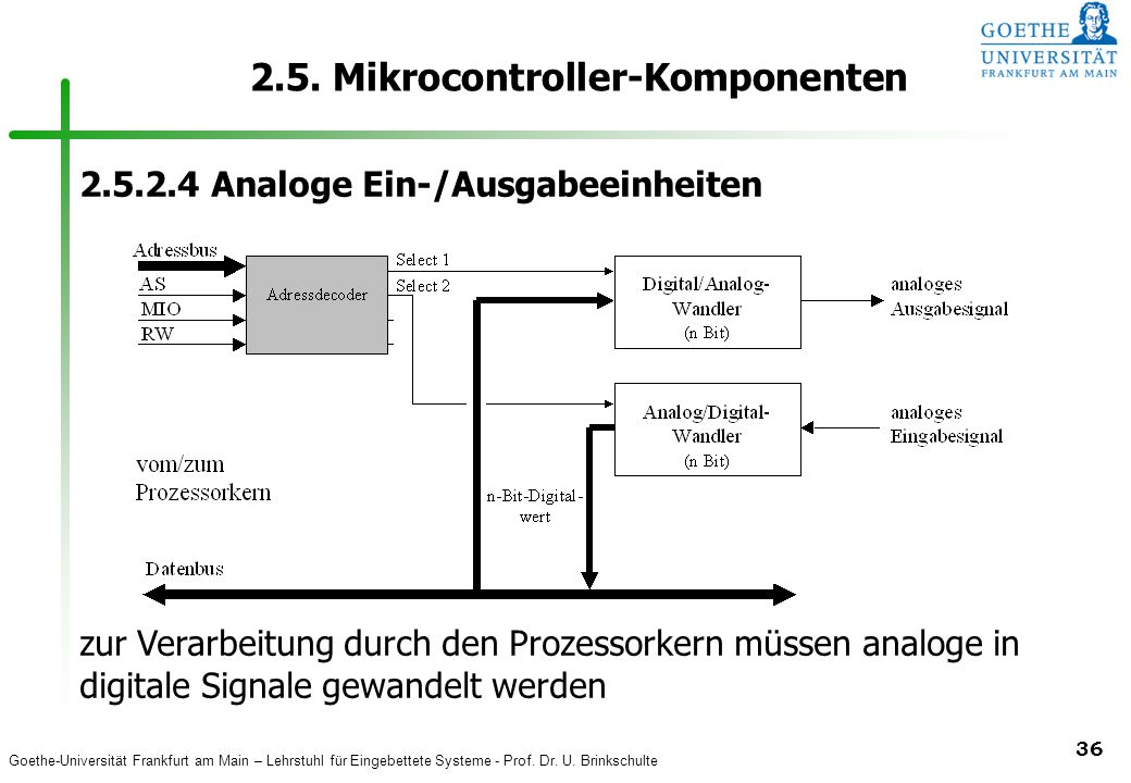 Goethe-Universität Frankfurt am Main – Lehrstuhl für Eingebettete Systeme - Prof. Dr. U. Brinkschulte 36 2.5. Mikrocontroller-Komponenten 2.5.2.4 Anal