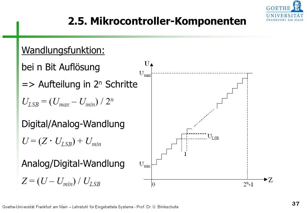 Goethe-Universität Frankfurt am Main – Lehrstuhl für Eingebettete Systeme - Prof. Dr. U. Brinkschulte 37 2.5. Mikrocontroller-Komponenten Wandlungsfun