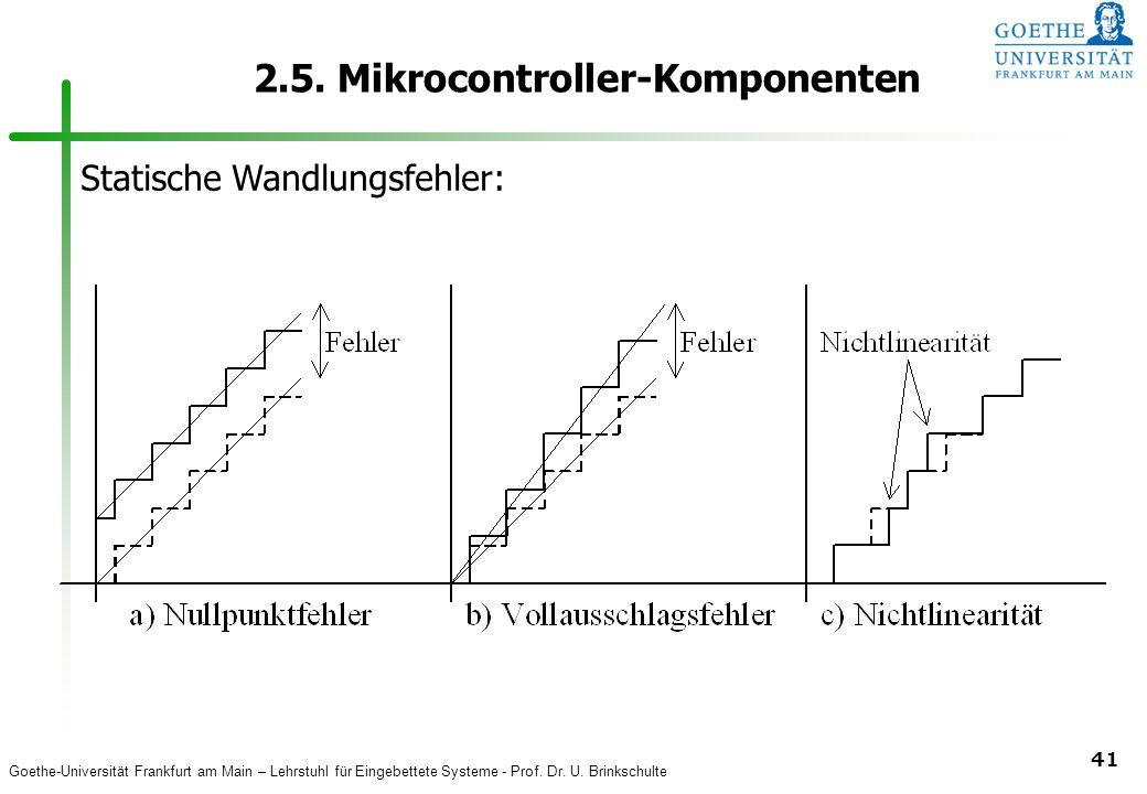 Goethe-Universität Frankfurt am Main – Lehrstuhl für Eingebettete Systeme - Prof. Dr. U. Brinkschulte 41 2.5. Mikrocontroller-Komponenten Statische Wa