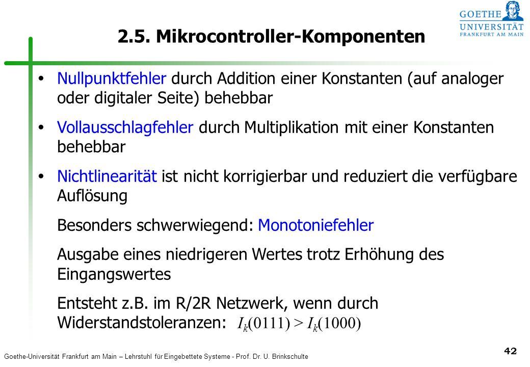 Goethe-Universität Frankfurt am Main – Lehrstuhl für Eingebettete Systeme - Prof. Dr. U. Brinkschulte 42 2.5. Mikrocontroller-Komponenten Nullpunktfeh