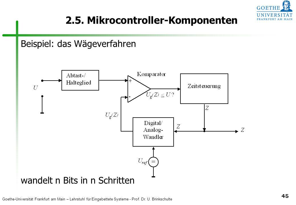Goethe-Universität Frankfurt am Main – Lehrstuhl für Eingebettete Systeme - Prof. Dr. U. Brinkschulte 45 2.5. Mikrocontroller-Komponenten Beispiel: da