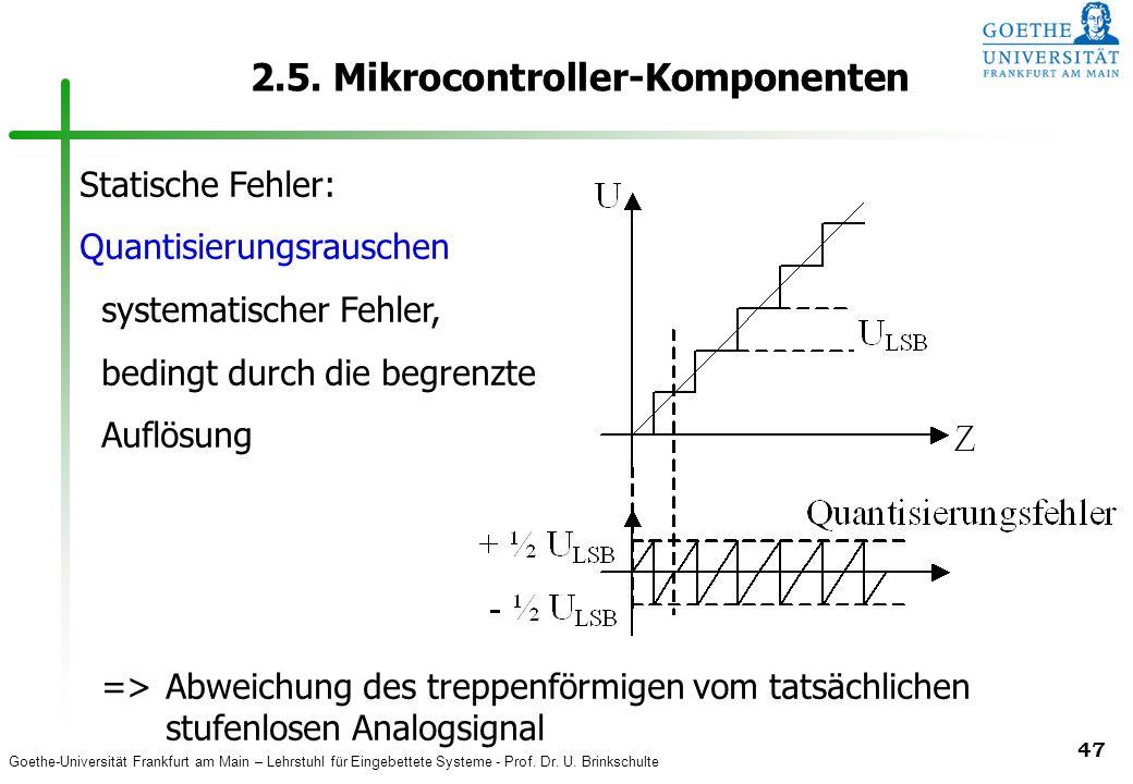Goethe-Universität Frankfurt am Main – Lehrstuhl für Eingebettete Systeme - Prof. Dr. U. Brinkschulte 47 2.5. Mikrocontroller-Komponenten Statische Fe