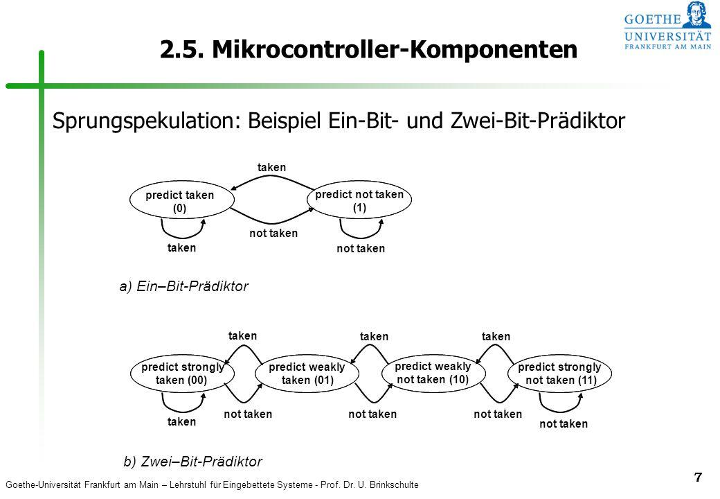 Goethe-Universität Frankfurt am Main – Lehrstuhl für Eingebettete Systeme - Prof. Dr. U. Brinkschulte 7 2.5. Mikrocontroller-Komponenten predict taken
