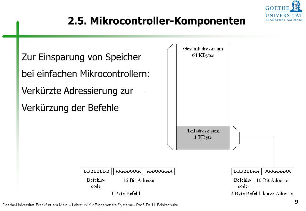 Goethe-Universität Frankfurt am Main – Lehrstuhl für Eingebettete Systeme - Prof. Dr. U. Brinkschulte 9 2.5. Mikrocontroller-Komponenten Zur Einsparun