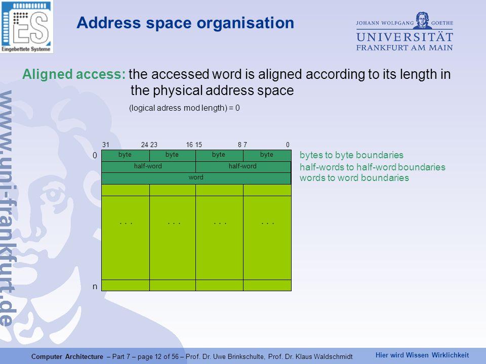 Hier wird Wissen Wirklichkeit Computer Architecture – Part 7 – page 12 of 56 – Prof. Dr. Uwe Brinkschulte, Prof. Dr. Klaus Waldschmidt Address space o