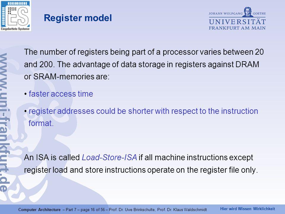 Hier wird Wissen Wirklichkeit Computer Architecture – Part 7 – page 16 of 56 – Prof. Dr. Uwe Brinkschulte, Prof. Dr. Klaus Waldschmidt Register model