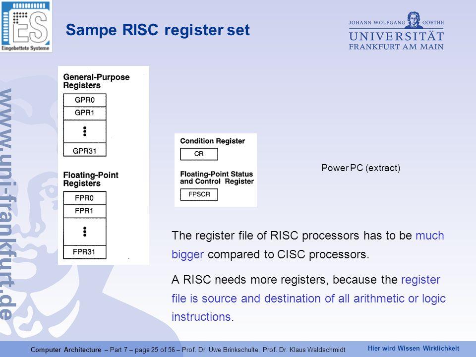 Hier wird Wissen Wirklichkeit Computer Architecture – Part 7 – page 25 of 56 – Prof. Dr. Uwe Brinkschulte, Prof. Dr. Klaus Waldschmidt Sampe RISC regi