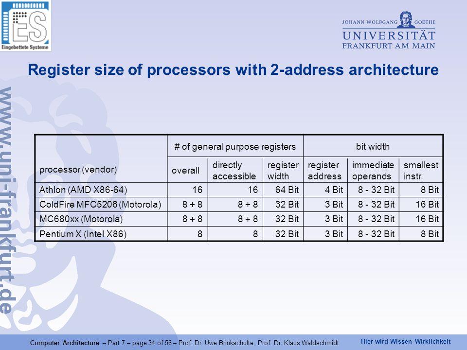 Hier wird Wissen Wirklichkeit Computer Architecture – Part 7 – page 34 of 56 – Prof. Dr. Uwe Brinkschulte, Prof. Dr. Klaus Waldschmidt Register size o