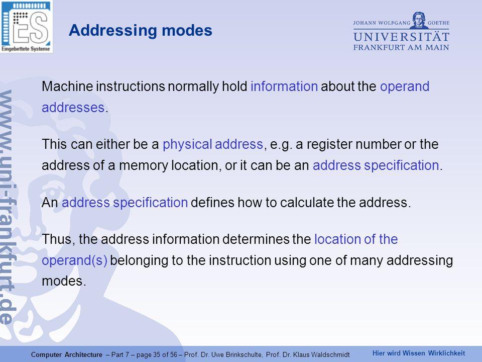 Hier wird Wissen Wirklichkeit Computer Architecture – Part 7 – page 35 of 56 – Prof. Dr. Uwe Brinkschulte, Prof. Dr. Klaus Waldschmidt Addressing mode