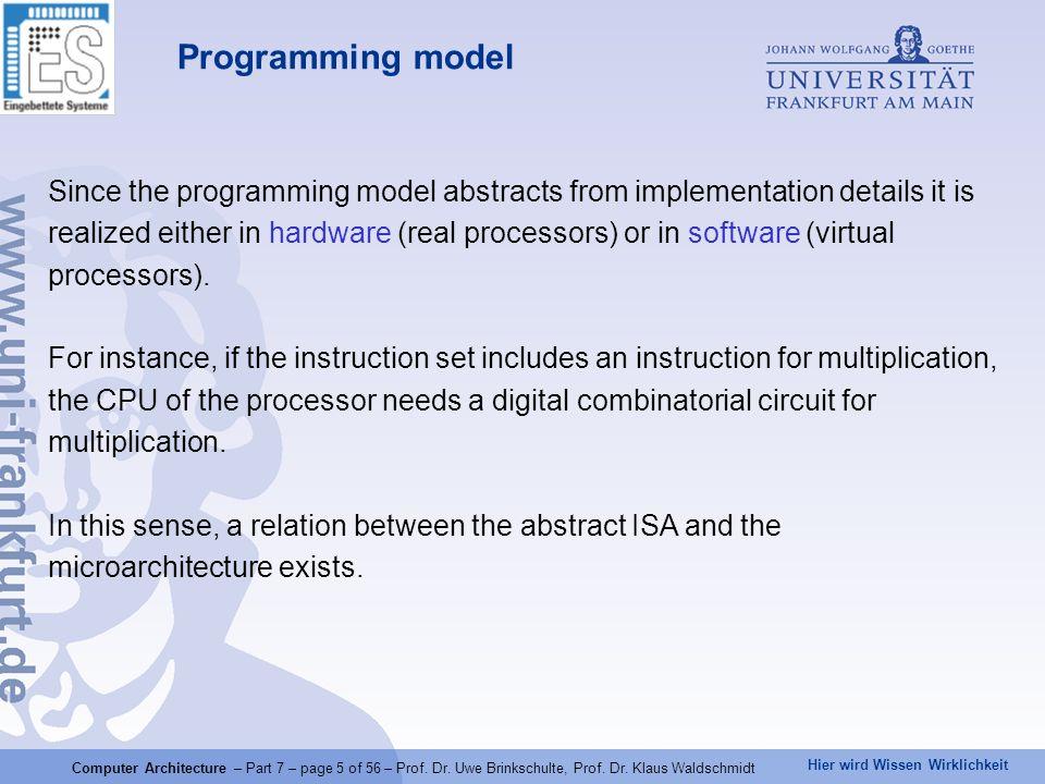 Hier wird Wissen Wirklichkeit Computer Architecture – Part 7 – page 5 of 56 – Prof. Dr. Uwe Brinkschulte, Prof. Dr. Klaus Waldschmidt Programming mode