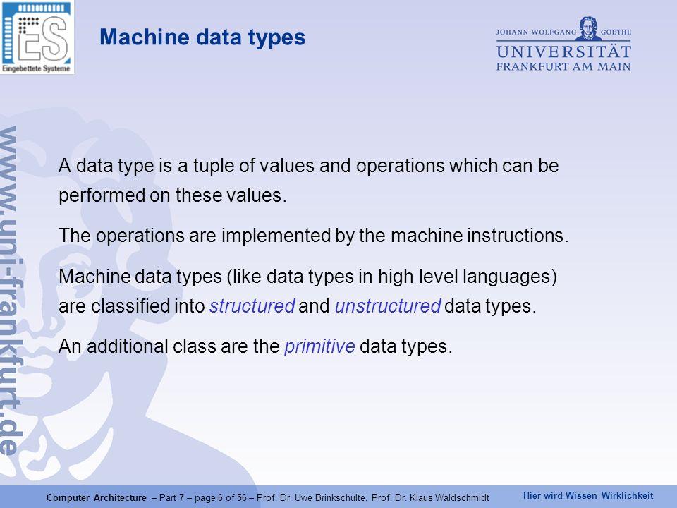 Hier wird Wissen Wirklichkeit Computer Architecture – Part 7 – page 6 of 56 – Prof. Dr. Uwe Brinkschulte, Prof. Dr. Klaus Waldschmidt Machine data typ