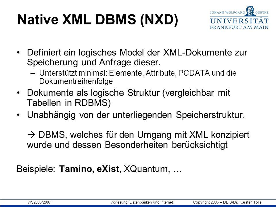 WS2006/2007 Vorlesung: Datenbanken und Internet Copyright 2006 – DBIS/Dr. Karsten Tolle Native XML DBMS (NXD) Definiert ein logisches Model der XML-Do