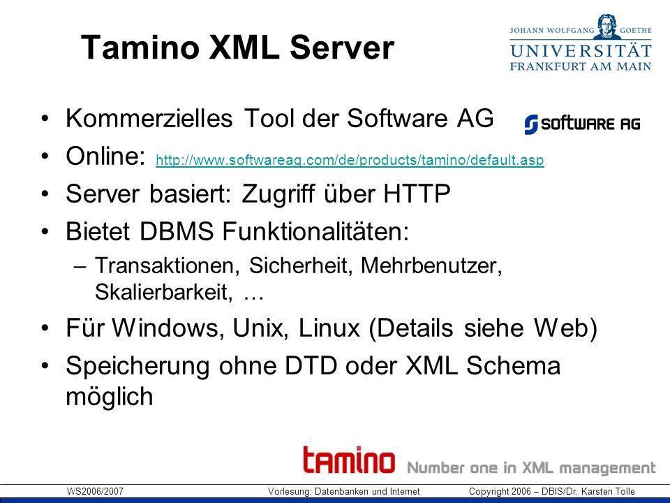 WS2006/2007 Vorlesung: Datenbanken und Internet Copyright 2006 – DBIS/Dr. Karsten Tolle Tamino XML Server Kommerzielles Tool der Software AG Online: h