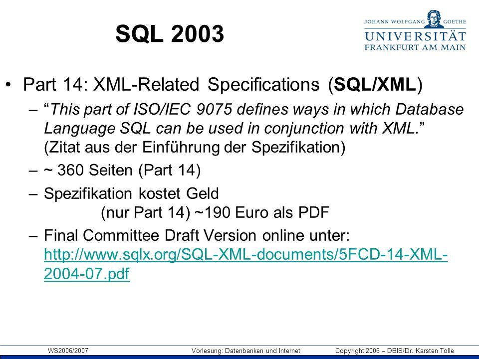 Storing XML in Shredded Form Folie übernommen von: George Lapis (IBM)