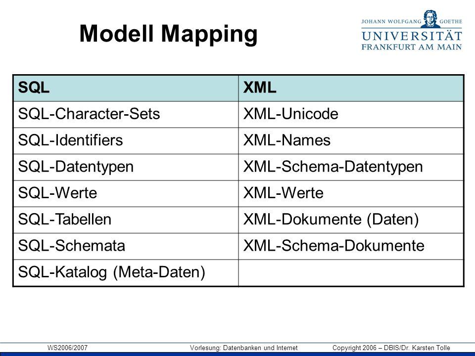 WS2006/2007 Vorlesung: Datenbanken und Internet Copyright 2006 – DBIS/Dr. Karsten Tolle Modell Mapping SQLXML SQL-Character-SetsXML-Unicode SQL-Identi