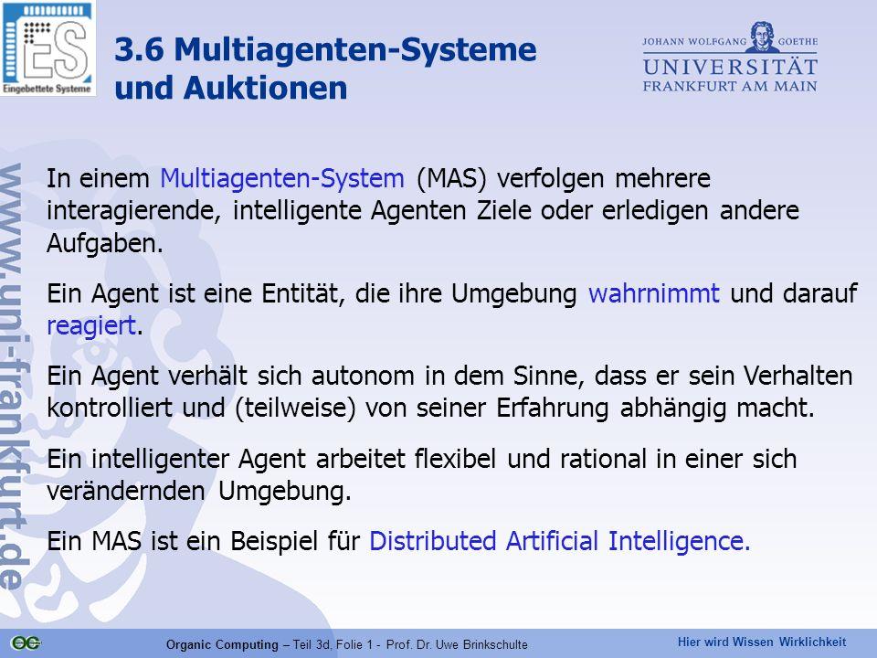 Hier wird Wissen Wirklichkeit Organic Computing – Teil 3d, Folie 1 - Prof. Dr. Uwe Brinkschulte In einem Multiagenten-System (MAS) verfolgen mehrere i