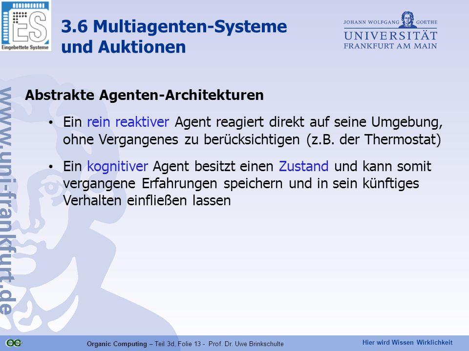Hier wird Wissen Wirklichkeit Organic Computing – Teil 3d, Folie 13 - Prof. Dr. Uwe Brinkschulte Abstrakte Agenten-Architekturen Ein rein reaktiver Ag