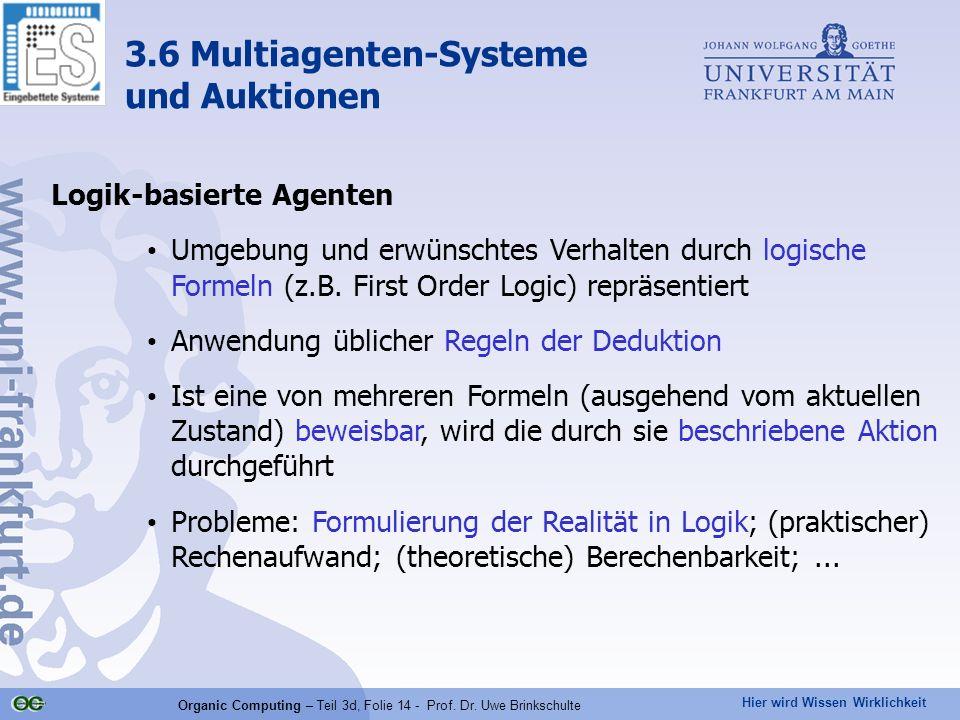 Hier wird Wissen Wirklichkeit Organic Computing – Teil 3d, Folie 14 - Prof. Dr. Uwe Brinkschulte Logik-basierte Agenten Umgebung und erwünschtes Verha