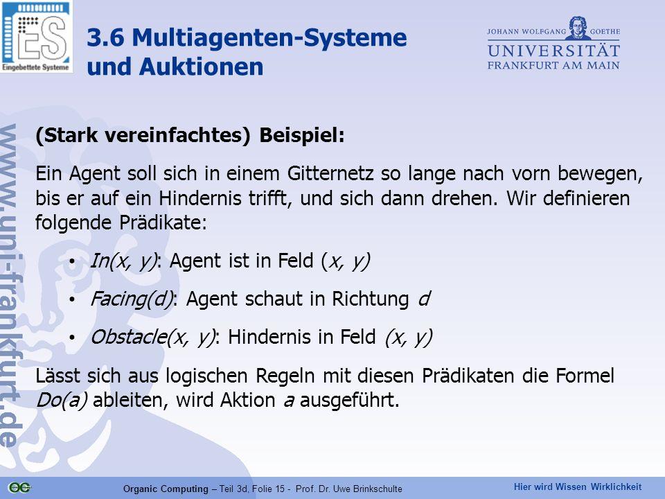 Hier wird Wissen Wirklichkeit Organic Computing – Teil 3d, Folie 15 - Prof. Dr. Uwe Brinkschulte (Stark vereinfachtes) Beispiel: Ein Agent soll sich i