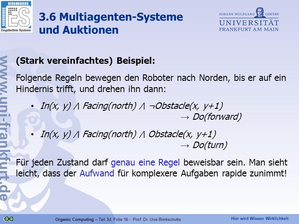 Hier wird Wissen Wirklichkeit Organic Computing – Teil 3d, Folie 16 - Prof. Dr. Uwe Brinkschulte (Stark vereinfachtes) Beispiel: Folgende Regeln beweg