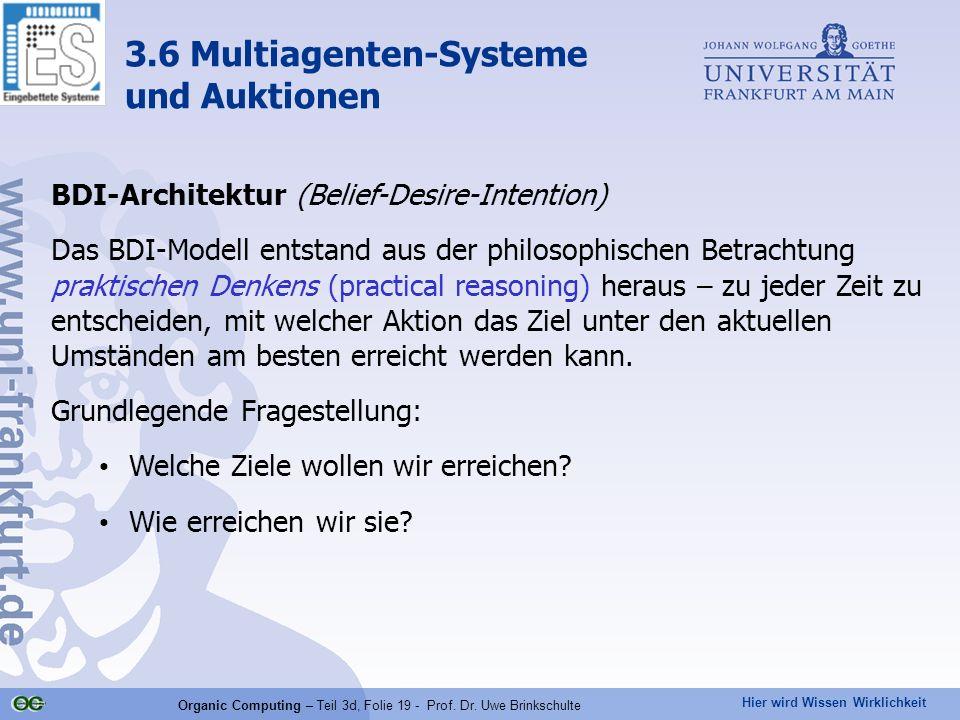 Hier wird Wissen Wirklichkeit Organic Computing – Teil 3d, Folie 19 - Prof. Dr. Uwe Brinkschulte BDI-Architektur (Belief-Desire-Intention) Das BDI-Mod