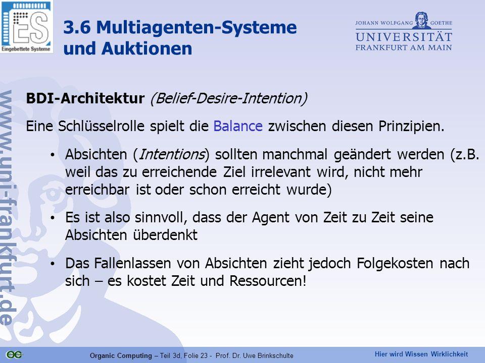 Hier wird Wissen Wirklichkeit Organic Computing – Teil 3d, Folie 23 - Prof. Dr. Uwe Brinkschulte BDI-Architektur (Belief-Desire-Intention) Eine Schlüs
