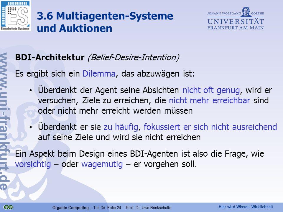 Hier wird Wissen Wirklichkeit Organic Computing – Teil 3d, Folie 24 - Prof. Dr. Uwe Brinkschulte BDI-Architektur (Belief-Desire-Intention) Es ergibt s